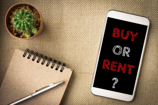"A smart phone displaying the question ""buy or rent?"""